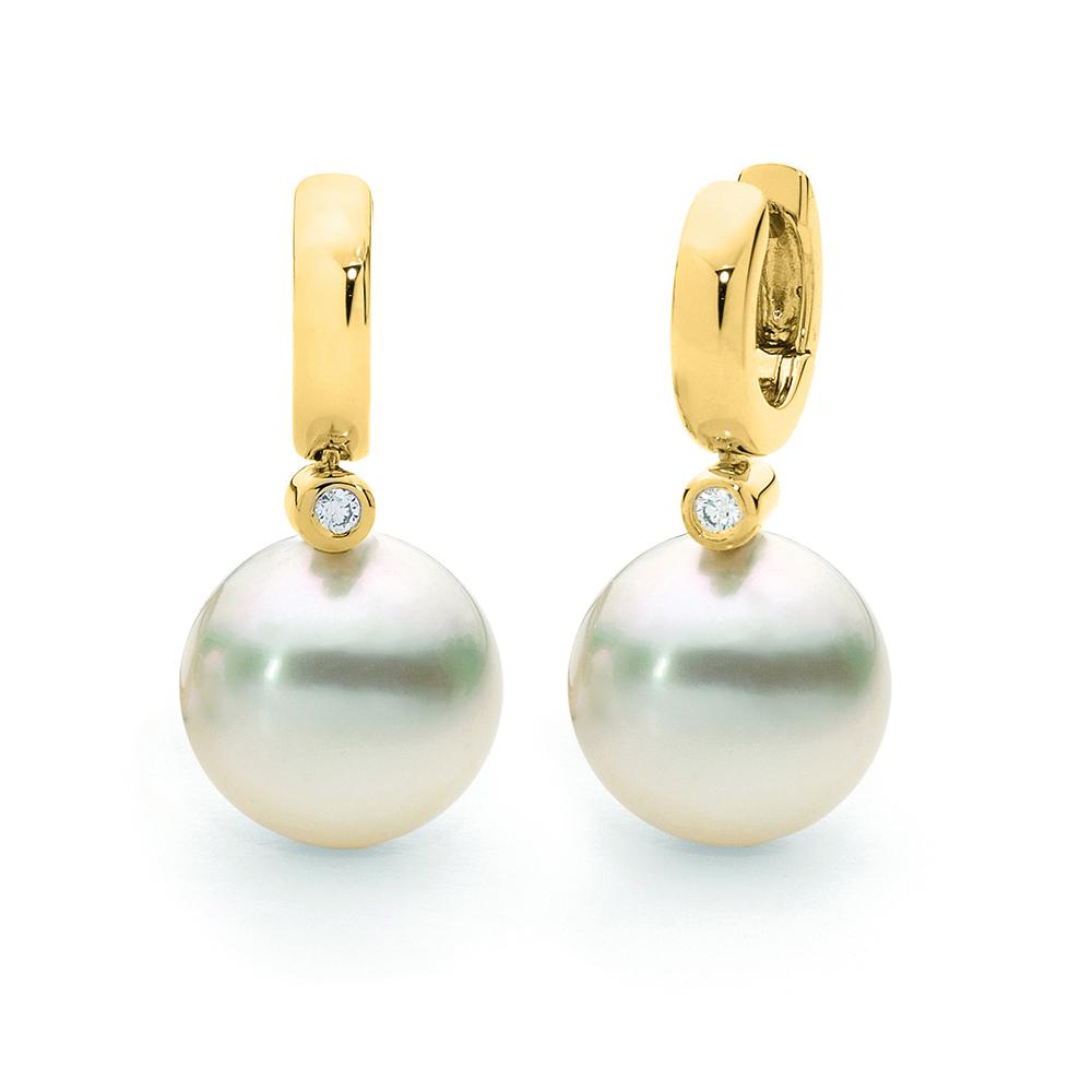 Crown Family Jewellers Pearl Diamond Drop Earrings