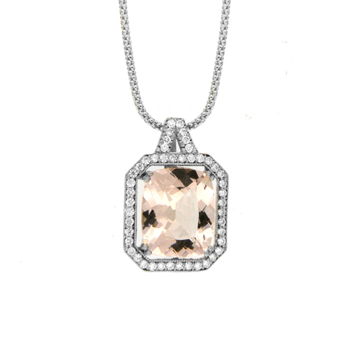 Crown Family Jewellers Morganite & Diamond Pendant